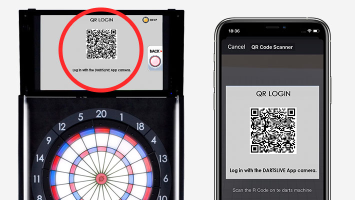 Scan the QR Code on the machine using the camera on the DARTSLIVE App.