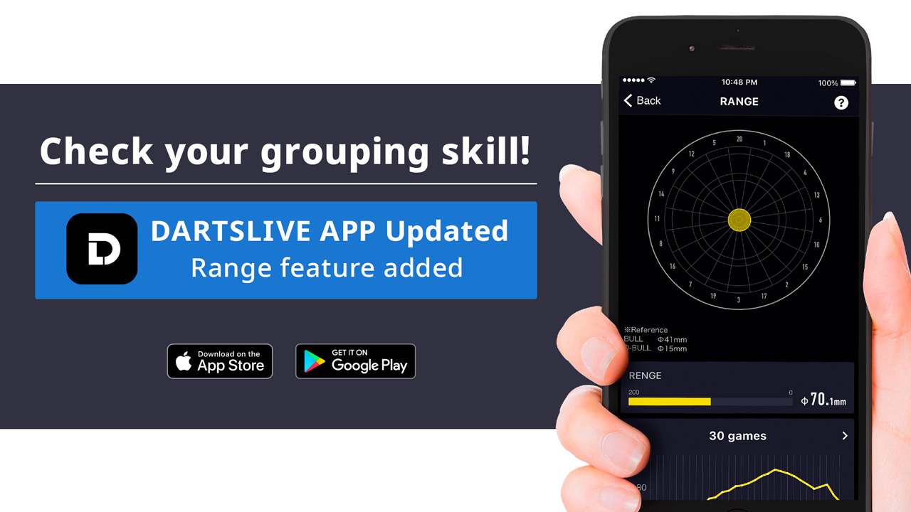 Check your grouping skill! Range feature added to DARTSLIVE App